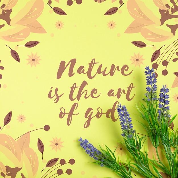 Message sur la nature sur une feuille de papier avec de la lavande à côté Psd gratuit
