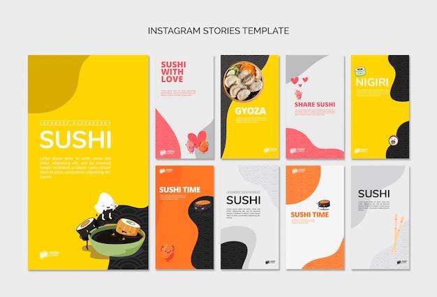 Messages De Médias Sociaux Du Restaurant De Sushi Asiatique Psd gratuit