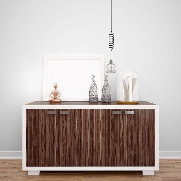Meubles En Bois Avec Objets Décoratifs Et Lampe, Idées De Design D'intérieur Psd gratuit