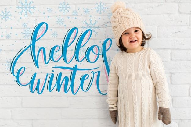 Mignon, bambin, à, maquette hiver Psd gratuit
