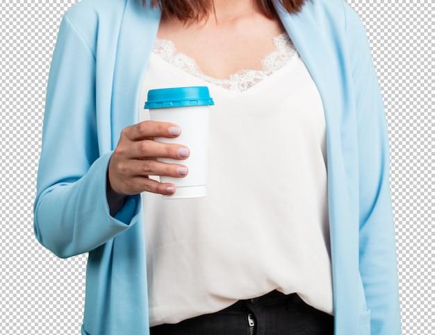 Milieu, femme âgée, gros plan, de, tenue, café, aller, concept, motivation, énergie, vitalité PSD Premium