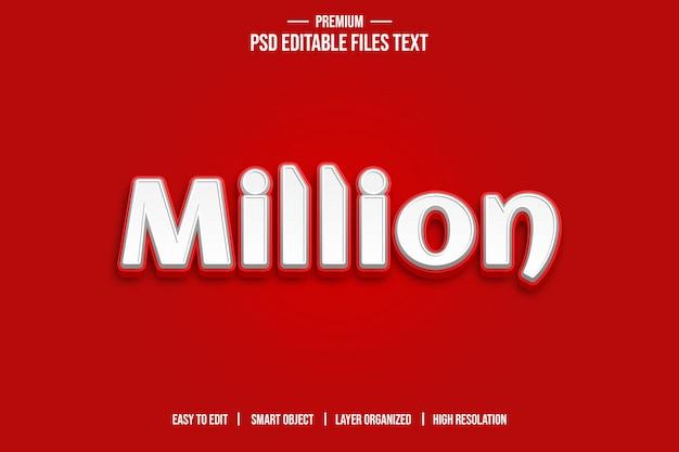 Million D'effet De Style De Texte 3d PSD Premium
