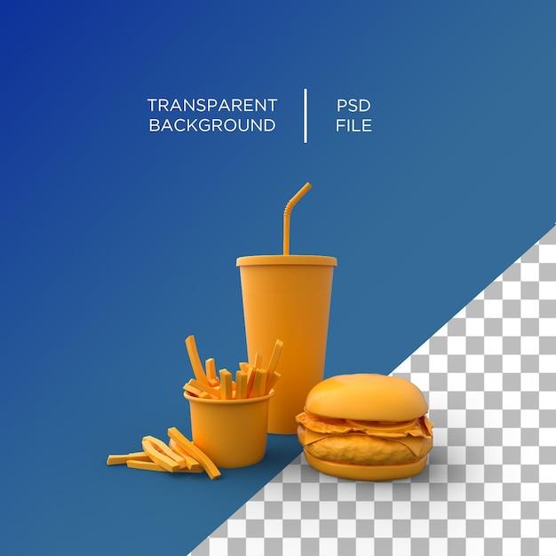 Minimalisme De Restauration Rapide Rendu 3d PSD Premium