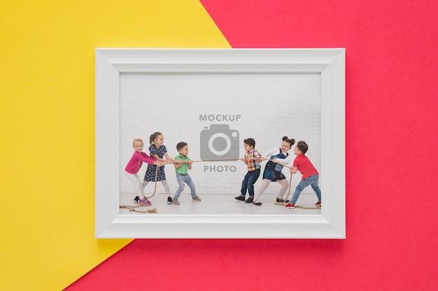 Mise à Plat Du Cadre Photo Minimal Psd gratuit