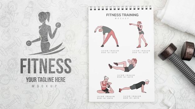 Mise à Plat Du Carnet De Fitness Avec Des Poids Psd gratuit
