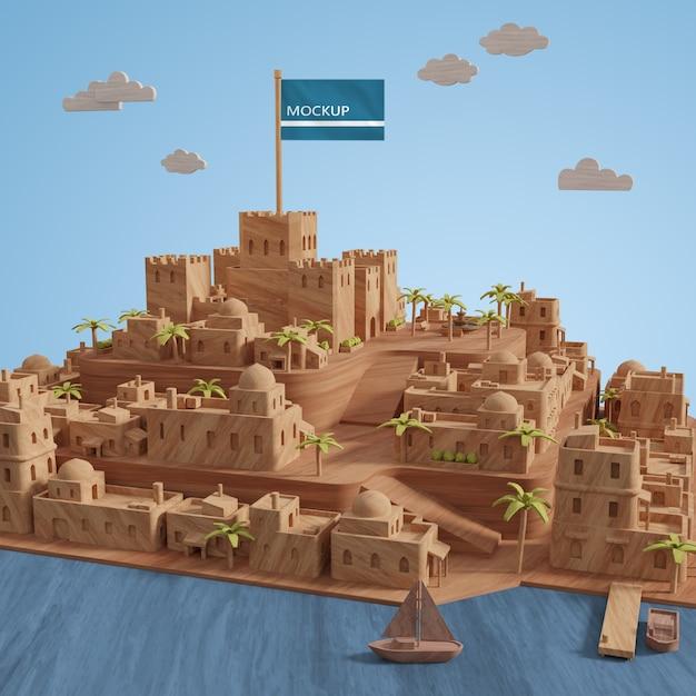Modèle 3d Miniature Des Bâtiments Des Villes Avec Maquette Psd gratuit