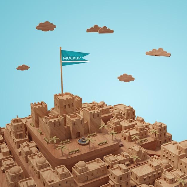Modèle 3d Miniature Des Bâtiments Des Villes Psd gratuit