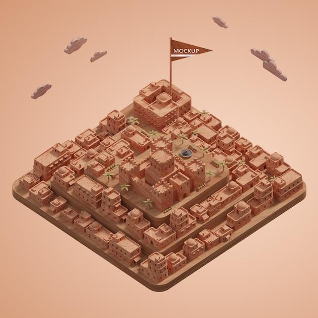 Modèle 3d Miniature De Villes Avec Maquette Psd gratuit