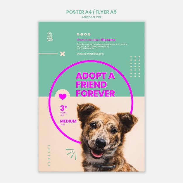 Modèle D'affiche Adopter Un Animal De Compagnie Psd gratuit