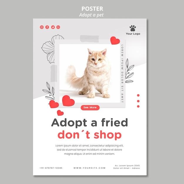 Modèle D'affiche Avec Adopter La Conception Pour Animaux De Compagnie Psd gratuit