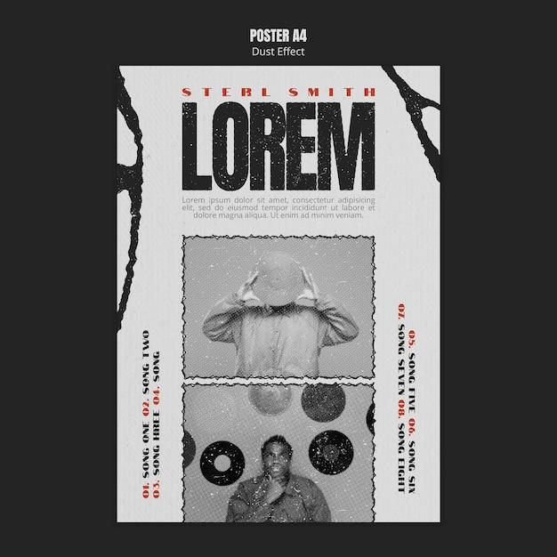 Modèle D'affiche D'album De Musique Avec Effet Photo Et Poussière PSD Premium