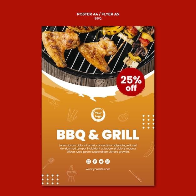 Modèle D'affiche Américain Bbq And Grill House Psd gratuit
