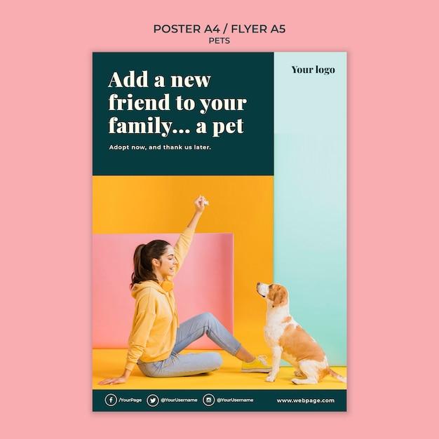 Modèle D'affiche D'animaux De Compagnie Psd gratuit