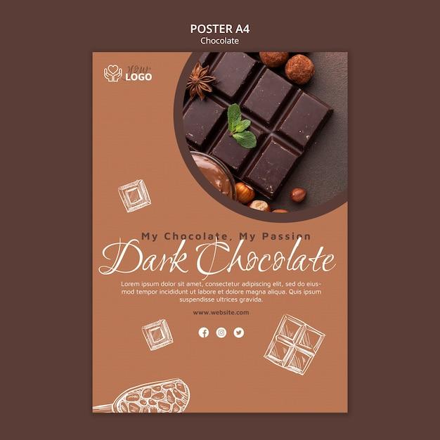 Modèle D'affiche Au Chocolat Noir Psd gratuit