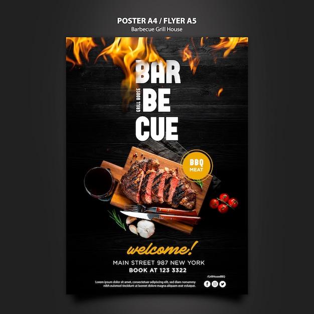 Modèle D'affiche Avec Barbecue Psd gratuit