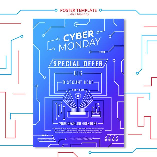Modèle d'affiche de circuit cyber lundi Psd gratuit