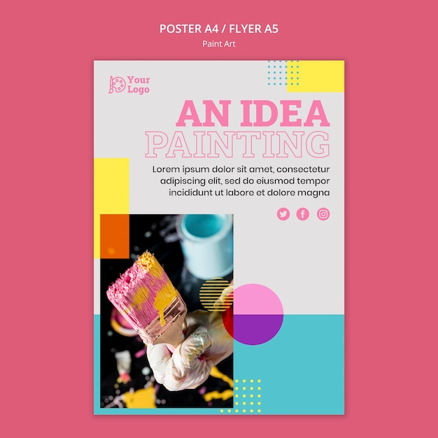 Modèle D'affiche De Concept D'art De Peinture Psd gratuit