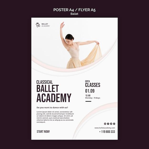 Modèle D'affiche De Concept De Ballet Psd gratuit