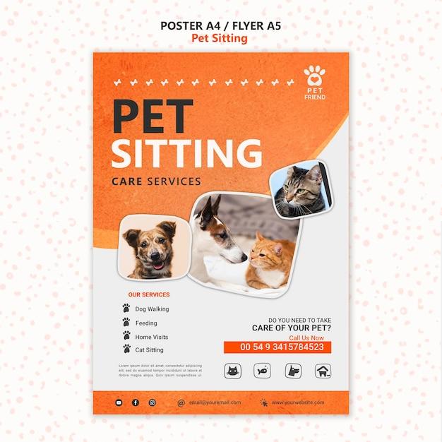 Modèle D'affiche De Concept De Garde D'animaux Psd gratuit