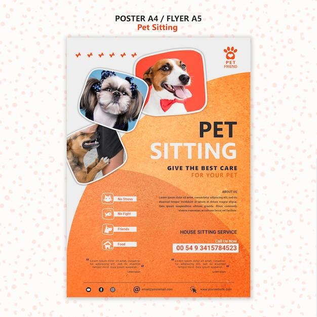 Modèle D'affiche De Concept De Garde D'animaux PSD Premium