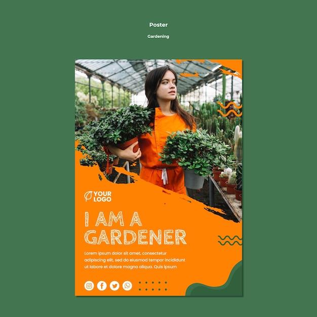 Modèle D'affiche De Concept De Jardinage Psd gratuit