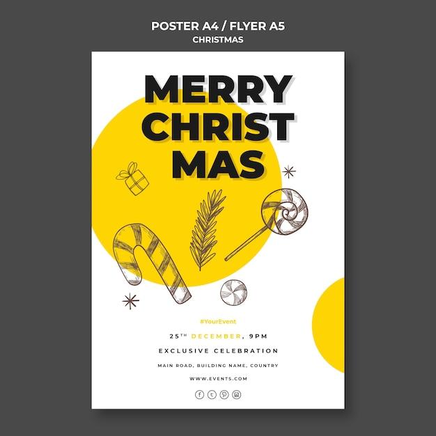 Modèle D'affiche De Concept De Noël Psd gratuit
