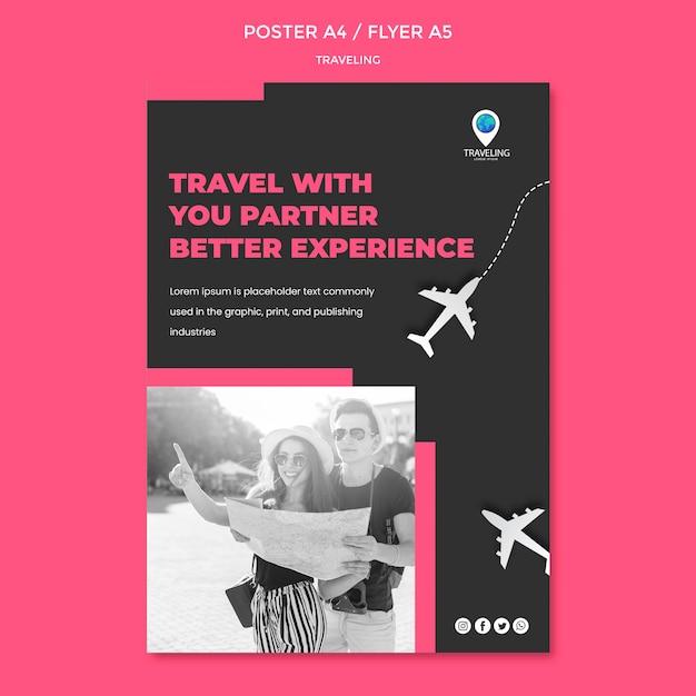 Modèle D'affiche De Concept De Voyage Psd gratuit