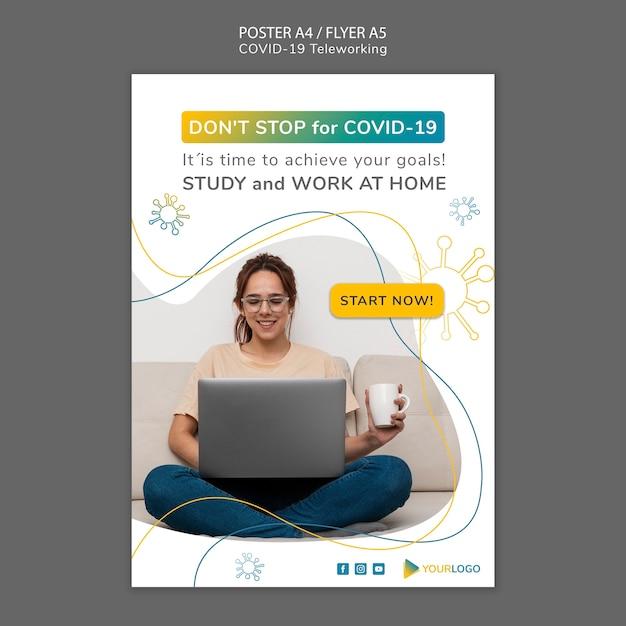 Modèle D'affiche De Coronavirus Avec Photo Psd gratuit