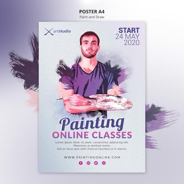 Modèle D'affiche De Cours De Peinture En Ligne Psd gratuit