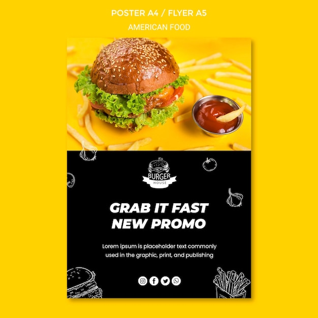 Modèle D'affiche De Cuisine Américaine Psd gratuit