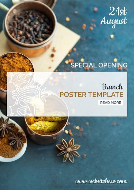 Modèle d'affiche de cuisine indienne moderne Psd gratuit