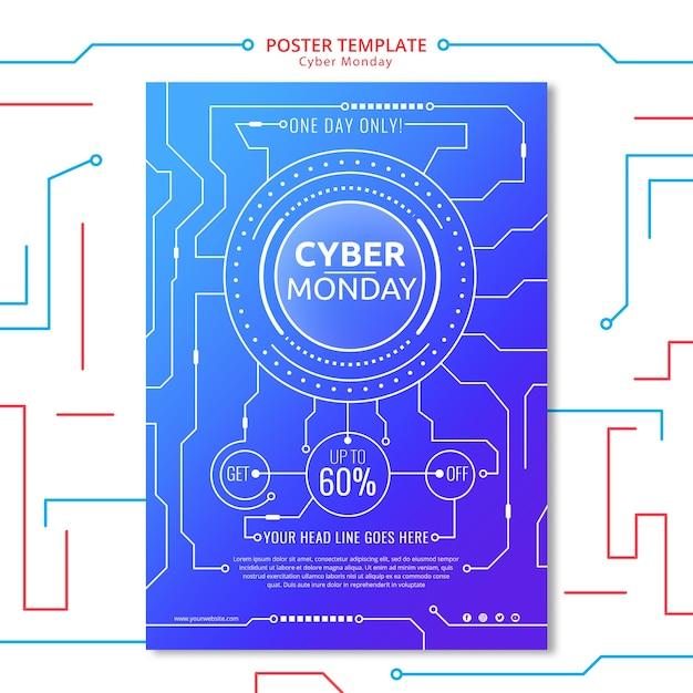 Modèle d'affiche cyber lundi avec élément de circuit Psd gratuit