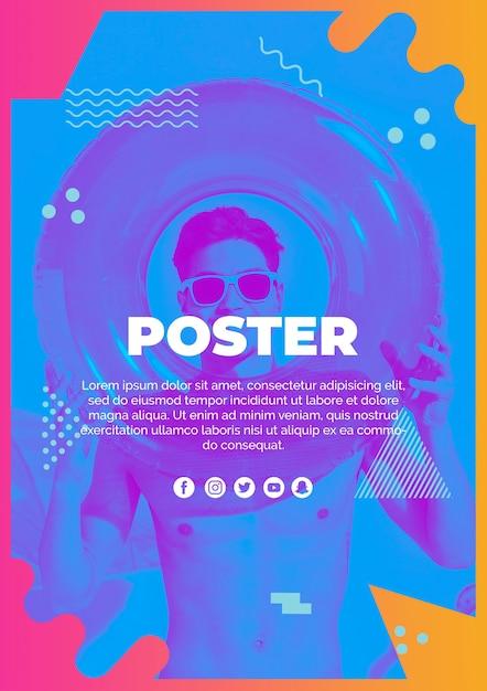 Modèle d'affiche dans le style de memphis avec le concept de l'été Psd gratuit