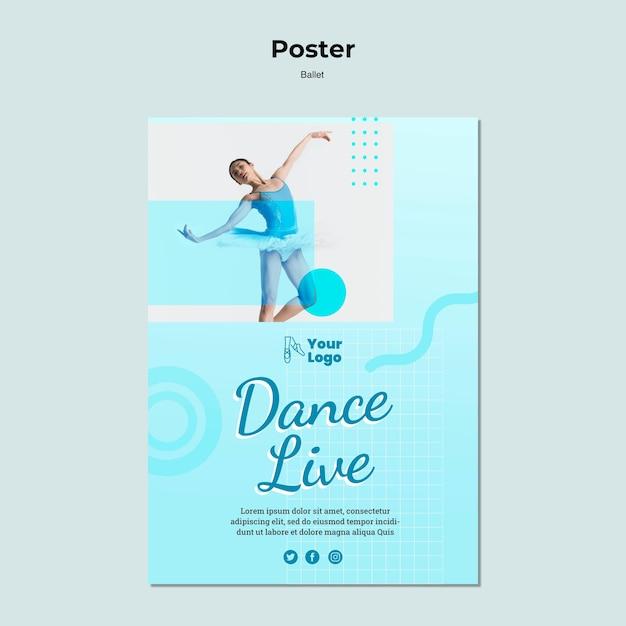 Modèle D'affiche Avec Danseuse Ballerine Psd gratuit