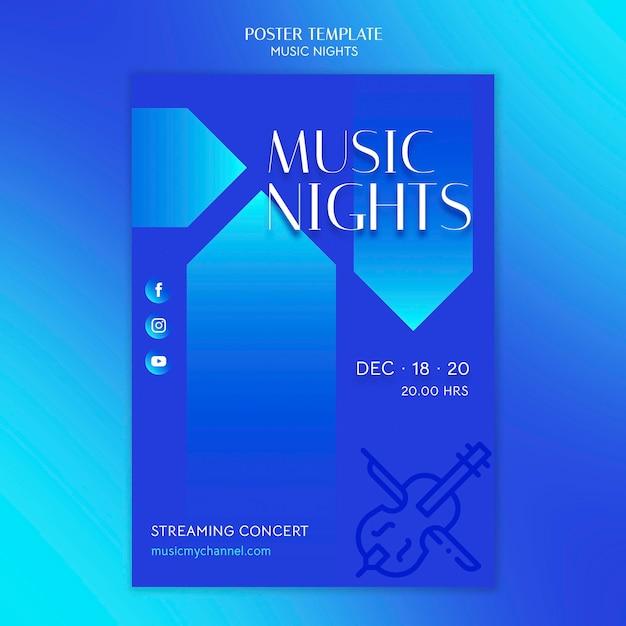 Modèle D'affiche Dégradé Vertical Pour Le Festival Des Nuits De Musique Psd gratuit
