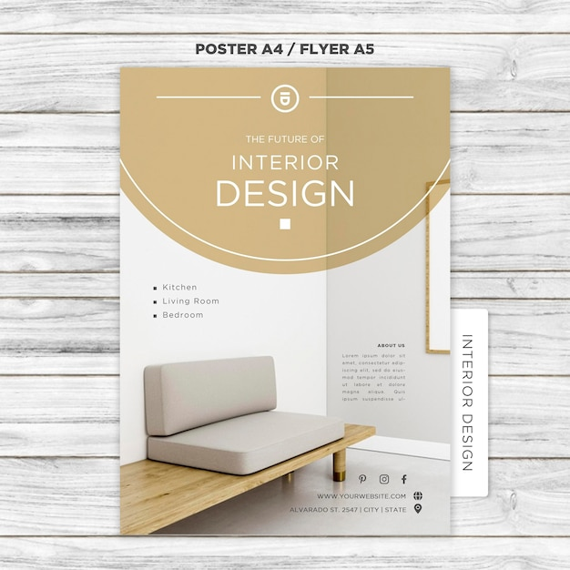 Modèle D'affiche De Design D'intérieur Psd gratuit