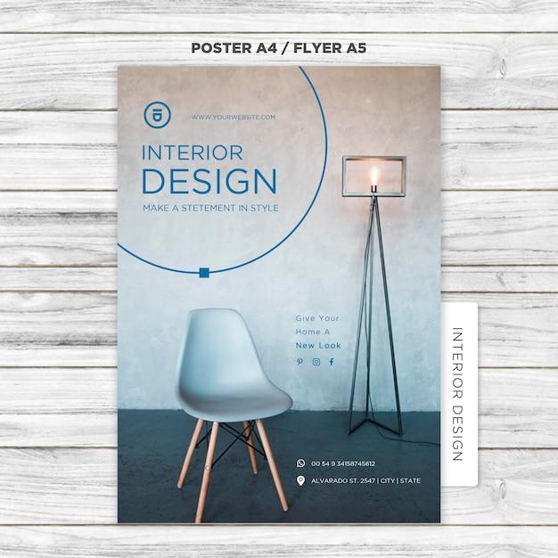 Modèle D'affiche De Design D'intérieur PSD Premium
