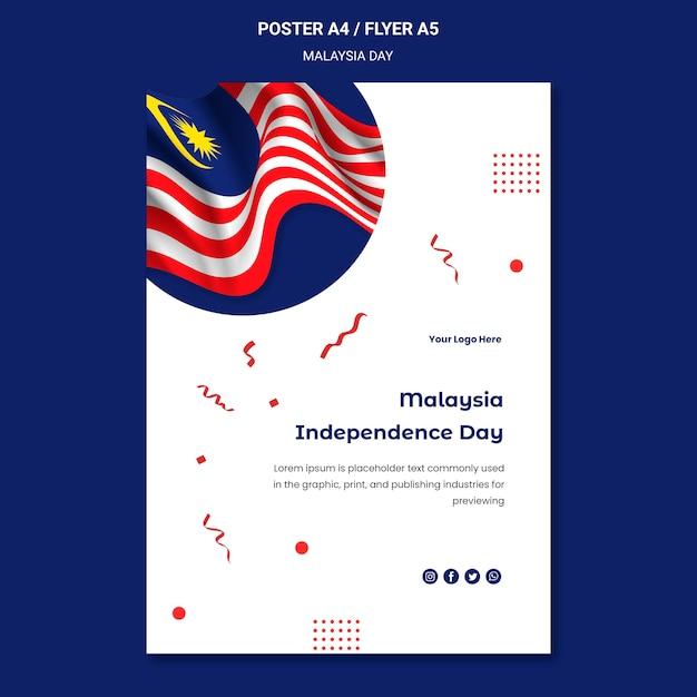 Modèle D'affiche De Drapeau Ondulé De La Malaisie Psd gratuit