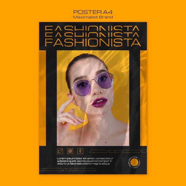 Modèle D'affiche Fashionista De Marque Maximaliste Psd gratuit