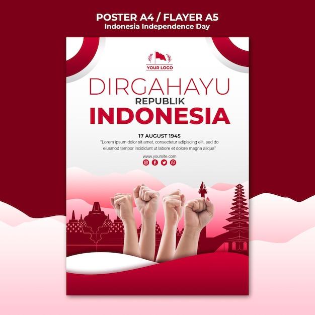 Modèle D'affiche De La Fête De L'indépendance De L'indonésie Psd gratuit