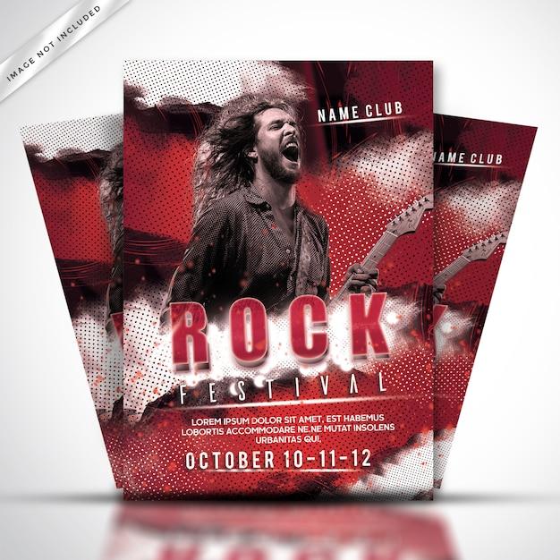 Modèle d'affiche ou de flyer du festival rock PSD Premium