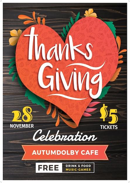 Modèle d'affiche ou de flyer de thanksgiving. 28 novembre PSD Premium