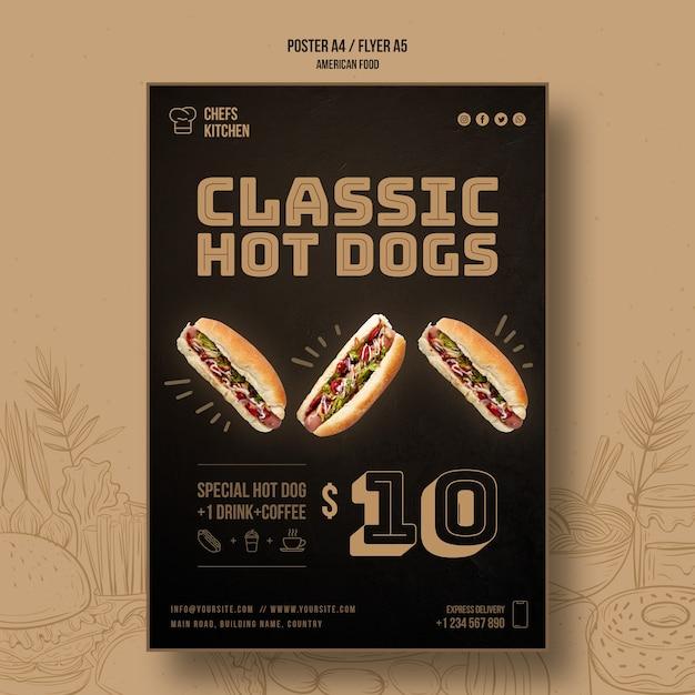 Modèle D'affiche De Hot-dog Classique De Cuisine De Chefs Psd gratuit