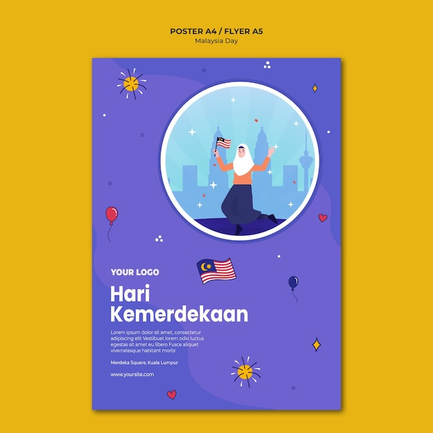 Modèle D'affiche De L'indépendance Malaisienne De Hari Kemerdekaan Psd gratuit