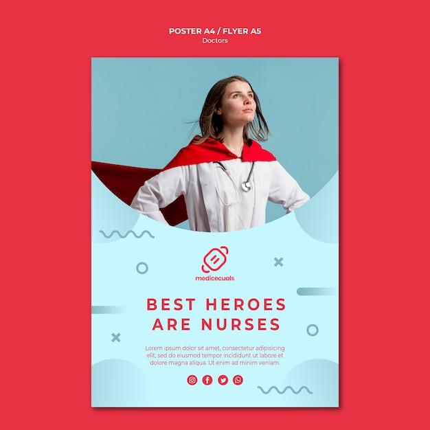 Modèle D'affiche Infirmière Héros Portant Cape Psd gratuit