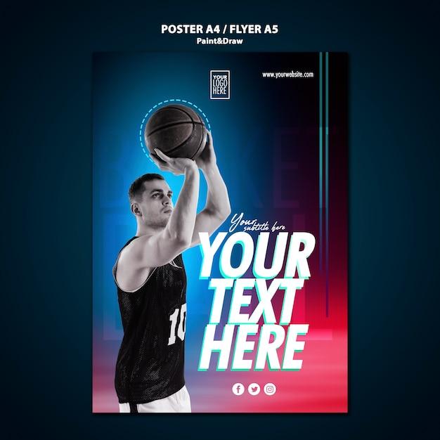 Modèle D'affiche De Joueur De Basket-ball Psd gratuit