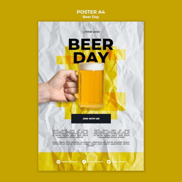 Modèle D'affiche De La Journée De La Bière Psd gratuit
