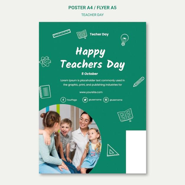 Modèle D'affiche De La Journée Des Enseignants Heureux Psd gratuit