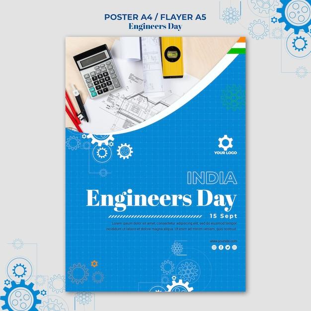 Modèle D'affiche De La Journée Des Ingénieurs Psd gratuit