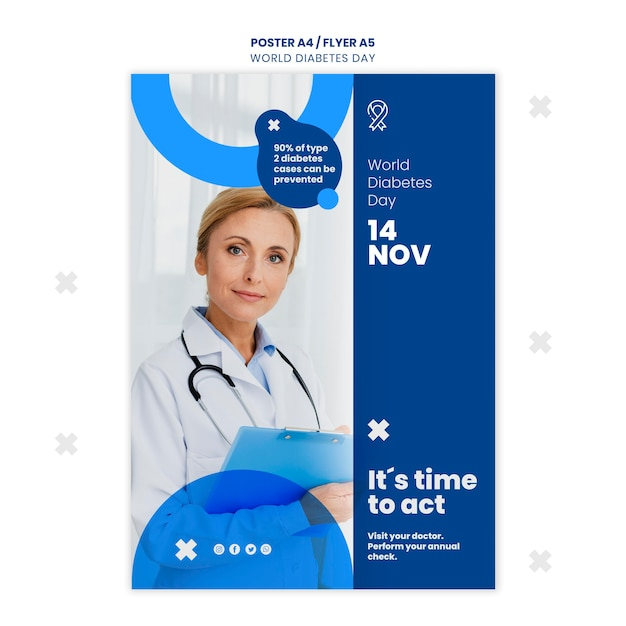 Modèle D'affiche De La Journée Mondiale Du Diabète Psd gratuit